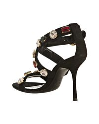Dolce & Gabbana - Black Suede Jeweled Ankle Strap Sandals - Lyst