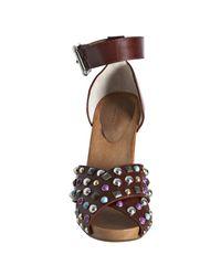 Dolce & Gabbana | Brown Sienna Studded Leather Wooden Platform Sandals | Lyst