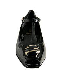 Fendi | Black Patent Leather T-strap Flats | Lyst