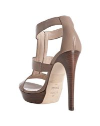 Fendi - Brown Taupe Leather Zip Detail Platform Sandals - Lyst
