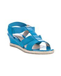 Fendi | Blue Turquoise Elastic Strap Wedge Sandals | Lyst