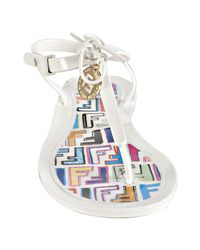 Fendi - White Rubber Logo Disc Thong Sandals - Lyst