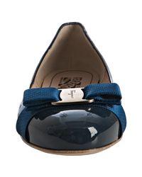 Ferragamo | Blue Perforated Leather Glenda Bow Flats | Lyst