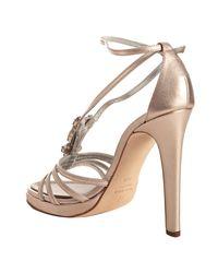 Giuseppe Zanotti - Metallic Rose Gold Leather Jeweled Platform Sandals - Lyst