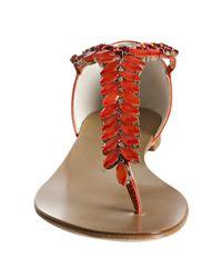Giuseppe Zanotti - Orange Mango Leather Jeweled Thong Sandals - Lyst