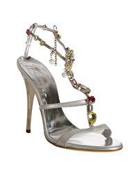 Giuseppe Zanotti | Metallic Silver Leather Jeweled T-strap Sandals | Lyst