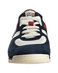 Gucci   Blue and White Nylon and Leather Sl73 Web Sneakers   Lyst