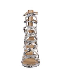 Jeffrey Campbell - White Ivory Python Print Web Sandals - Lyst
