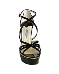 Jimmy Choo - Black Patent Leather Zena Platform Sandals - Lyst