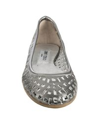 Jimmy Choo - Gray Steel Perforated Leather Wells Flats - Lyst