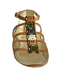 Jimmy Choo | Brown Tan Leather Weylin Jeweled Flat Sandals | Lyst