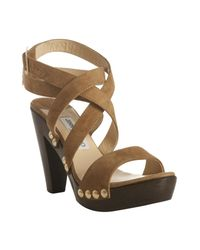 Jimmy Choo | Brown Tan Suede Unity Platform Wooden Sandals | Lyst