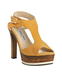 Jimmy Choo - Yellow Suede Nixon Platform Sandals - Lyst