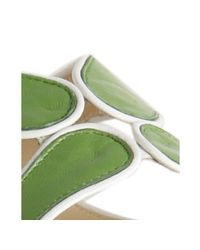 kate spade new york - Green Leather June Slide Sandals - Lyst