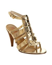 Kors by Michael Kors | Metallic Gold Leather Dareh Studded T-strap Sandals | Lyst