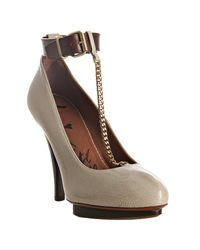 Lanvin | Natural Ivory Patent Leather T-strap Pumps | Lyst