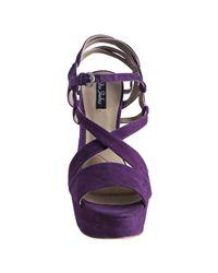 Mea Shadow - Purple Violet Suede Francesca Platform Sandals - Lyst