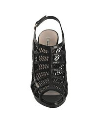 Miu Miu - Black Leather Mesh Cage Peep Toe Pumps - Lyst