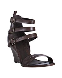 Pour La Victoire | Brown Leather Regina Wedge Sandals | Lyst