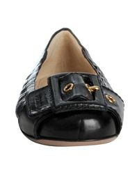 Prada - Black Leather Buckle Flats - Lyst