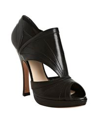 Prada | Black Leather Cut-out Peep Toe Pumps | Lyst