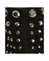 Prada - Black Rhinestone Studded Suede Ankle Boots - Lyst