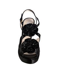 Prada - Black Satin Sequin Rosette Platform Sandals - Lyst