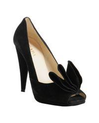 Prada | Black Suede Ruffle Detail Peep Toe Pumps | Lyst
