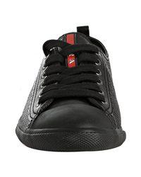 Prada | Sport Black Perforated Leather Cap Toe Sneakers | Lyst