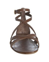 Prada | Burnt Brown Leather Ankle Strap Flat Sandals | Lyst