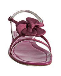 Prada   Pink Fuchsia Silk Rosette Flat Sandals   Lyst