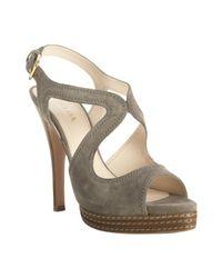 Prada | Gray Grey Suede Platform Slingback Sandals | Lyst