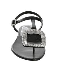 Roger Vivier | Black Patent Leather Jeweled Thong Sandals | Lyst