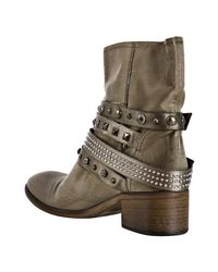 Strategia   Brown Military Distressed Satin Studded Ankle Boots   Lyst