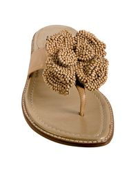 Stuart Weitzman - Brown Almond Leather Woodland Beaded Rosette Sandals - Lyst