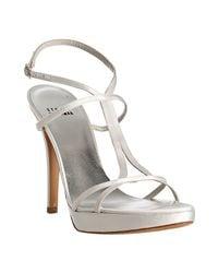 Stuart Weitzman - White Satin Divine Platform Sandals - Lyst