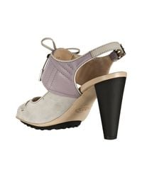 Tod's - Purple Violet and Light Grey Suede Lace-up Detail Sandals - Lyst