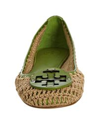 Tory Burch - Green Trim Coconut Crocheted Rory Ballet Flats - Lyst