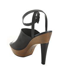 Saint Laurent   Black Leather Woodstock Ankle Wrap Platform Sandals   Lyst