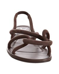 Saint Laurent - Brown Suede Nikki Slingback Flat Sandals - Lyst