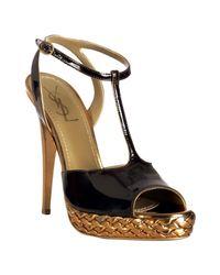 Saint Laurent | Brown Chocolate Patent Tribute T-strap Platform Sandals | Lyst