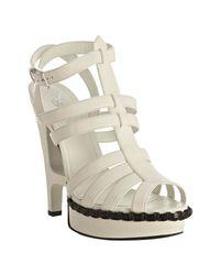 Saint Laurent | White Leather Essentiel 105 T-strap Sandals | Lyst