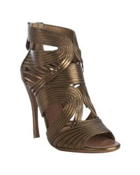 Alaïa | Metallic Bronze Strappy Leather Peep Toe Sandals | Lyst