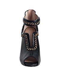 Boutique 9 | Black Leather Eleina Chain Detail Ankle Strap Sandals | Lyst