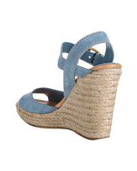 Car Shoe - Sky Blue Suede Ankle Strap Espadrille Wedges - Lyst
