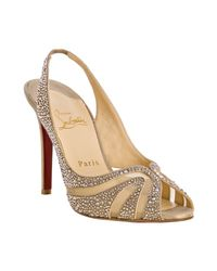 Christian Louboutin | Natural Nude Crystal Alta Rita Diams 100 Slingbacks | Lyst