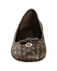 Fendi - Brown Tobacco and Gold Zucca Star Printed Flats - Lyst