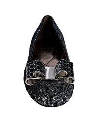 Ferragamo - Metallic Silver Sequined Varina Bow Flats - Lyst