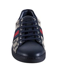 Gucci | Blue Navy Gg Canvas Web Stripe Sneakers | Lyst