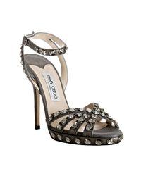 Jimmy Choo | Gray Grey Metallic Suede Jigsaw Sandals | Lyst